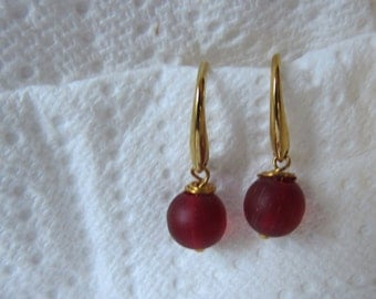Red Frosted Glass Earrings