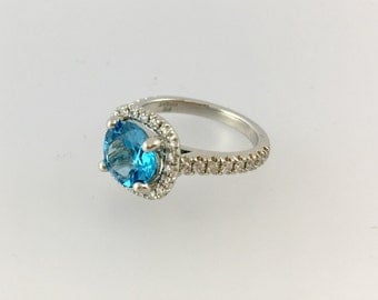 Platinum Diamond Blue Topaz Engagement Ring Halo Set