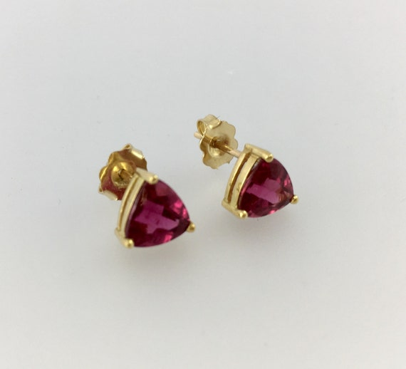Rubellite Tourmaline Trillion Stud Earrings 18k Yellow Gold