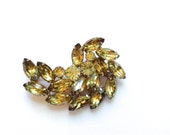Citrine Rhinestone Brooch Vintage Yellow Fashion Jewelry Accessories