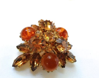 Austria Amber Rhinestone Brooch Vintage Retro Fashion Jewelry