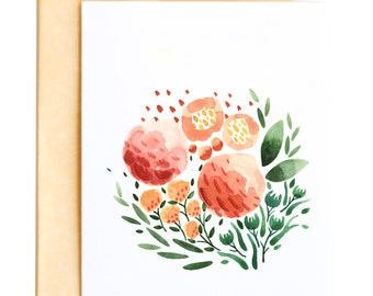 Floral No. 1 Greeting Card, Watercolor Flowers and Leaves Garden A6 Notecard