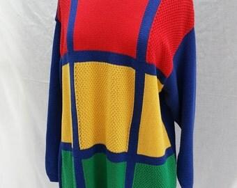 Oversize Colorblock Sweater, Womans Sweater, Liz Sweater, Medium, Cotton