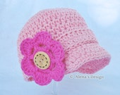 Crochet Pattern 082 - Baby Visor Beanie Hat, 0-3, 3-6, 6-24 months  - Baby Boy - Baby Girl - Toddler Boys Girls - Hat with Detachable Flower