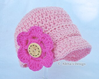 Crochet Pattern 082 - Baby Visor Beanie Hat, 0-3, 3-6, 6-24 months  - Baby Boy - Baby Girl - Toddler Boys Girls - Hat with Detachable Flower