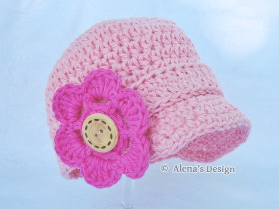Crochet Baby Hat Patterns 0 3 Months : Crochet Pattern 082 Baby Visor Beanie Hat 0-3 3-6 6-24