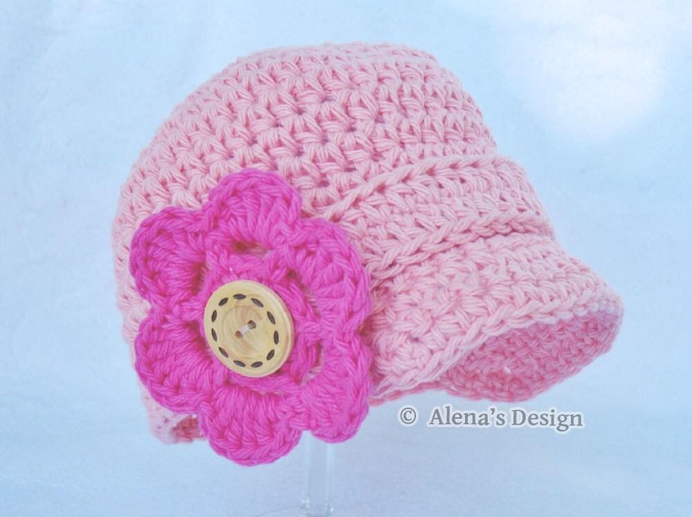 Crochet Pattern 082 Baby Visor Beanie Hat 0-3 3-6 6-24