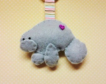 Felt Manatee Key Chain - Felt Key Chain - Manatee Gift - Stocking Stuffer - Key Charm - Felt Animal - Manatee - Keychain - Key Ring