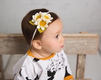 Fall Headband,Sunflower Headband,Cream Ivory Gold,Felt Flower Headband,Ivory Gold,Nylon Headband,Baby Newborn Toddler Girls,Daisy Headband