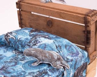 Toddler Duvet Cover , Organic Duvet Cover , Whale Blanket , Organic Blanket , Crib Bedding , Whale Nursery , Ocean Bedding , Ocean Blue Hues