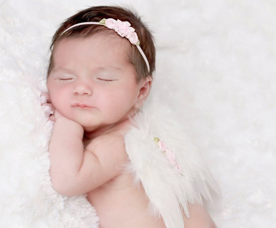 White Angel Feather Wings for Newborn Girls AND/OR Flower Headband, newborn photo prop, foto bebe, baby girl, by Lil Miss Sweet Pea