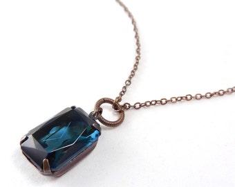 Blue Jewel Necklace, Rhinestone Necklace,  Simple Necklace, Layering Necklace, large jewel necklace, blue stone