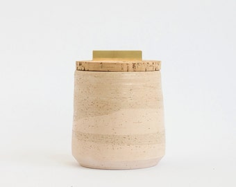 Alentejo small pot - pastel salmon color marble ceramic pottery vase - cork and gold brass lid - #CA001