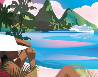 The Pitons, St. Lucia Poster PRint