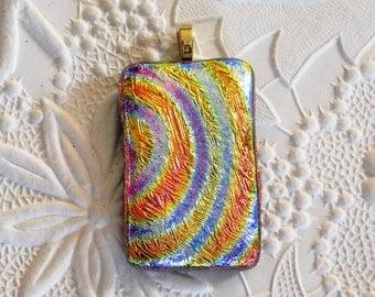 Dichroic Glass Pendant_Textured_Rainbow_Gold Bail_Orange_Lavender_OOAK_Dichro_Jewelry Design
