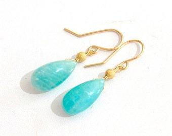 Amaznoite Earrings,  Aqua Blue Stone Earrings, Natural Amazonite Earrings, Gift For Her,