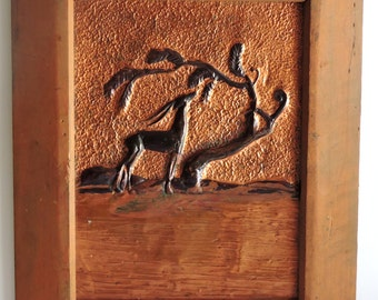 Vintage Folk Art Copper, Antelope Feeding, Home Decor, Wall Hanging,Primitive,Rustic,Cabin,Farm House
