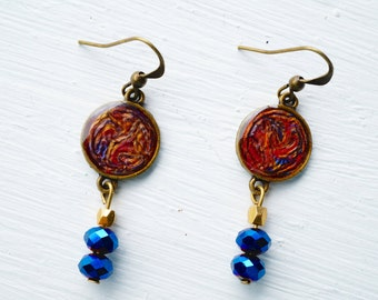 Orange and Blue Paint and Resin Earrings