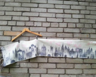 City keeps the Secrets-3. Soft wet felted pure wool shawl, unique art-to-wear garment