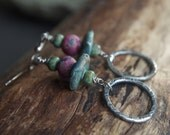 Rustic fine silver and handmade clay bead earrings - Gypsy boho earrings - Teal, sea foam green, bronze, pink - earthy colors