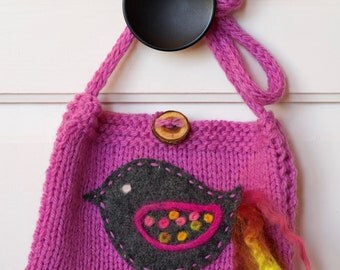 Hand knitted girl purse, pink purse, little girl purse, toddler purse, handmade wool with felted bird