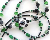 CHARMING TURTLE- Beaded ID Lanyard Badge Holder- Lampwork Turtle, Crystals, Jade Gemstones, Czech beads, and Pearls (Magnetic Clasp)