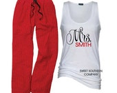 Mrs. Personalized Pajama Set - Bride to Be Wedding Gift - Red and Black Dot Pants with Personalized Tank Top