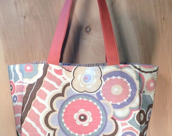 Mod Floral Tote Bag- Lavender and Coral Mod Flowers Tote- Cotton Tote- by beckyzimmdesign
