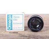 Vintage Omega Darkroom Enlarger Lens / El-Omegar 75mm f 3.5 lens / New Old Stock Darkroom Lens / Camera Decor Set Prop