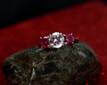Moissanite Engagement Ring & Ruby Jubilee Grand 3 Gem Stone Custom Size White-Yellow-Rose Gold-10k-14k-18k-Platinum