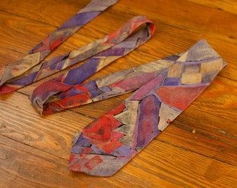 Vintage 80s 90s Men's Necktie - HARDY AMIES London - crazy pattern red purple