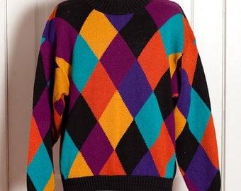 Vintage 80s 90s Super Colorful Diamond Print Sweater