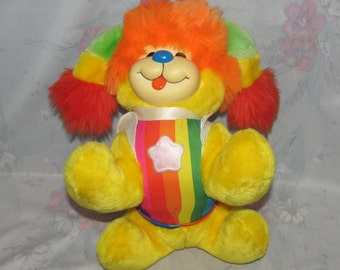 "Vintage 1983 Hallmark Rainbow Brite Plush -Toy  Puppy Brite - Cheerful, Striped Dog - 11"" Long"
