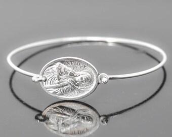 St Lucy Bracelet Bangle, St Lucy Jewelry, Catholic Jewelry, Sterling Silver Bangle, Sterling Silver Bracelet, Medal Bangle, Medal Bracelet