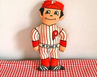 vintage 1970s stuffed doll - PHILLIES Philidalphia baseball sports memorabilia