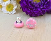 Candy Pink with Real Silver Leaf Polymer Clay Stud Earrings - 12mm - Surgical Steel Studs