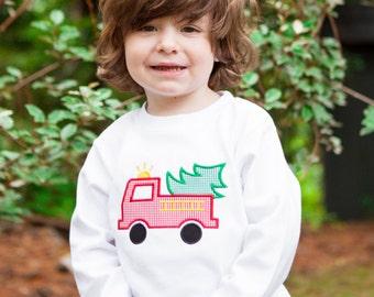 Firetruck Applique Shirt, Boys Christmas Shirts, Christmas Tree Shirts, Personalized Christmas Applique Shirts