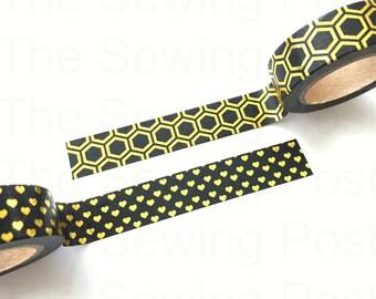 Washi Tape Set: Black and Gold