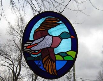 Large Oval Leaded STAINED GLASS window panel -Mallard duck-glass artwork,metal art,bird decor,bird art, OOAK,window treatments,rustic chic