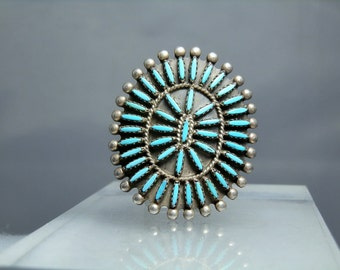 Zuni Petit Point Turquoise Sterling Silver Ring Size 8 Large Statement Vintage Jewelry Signed Handmade Native American Tribal Southwestern