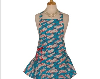 Simpons Ruffled Womens Apron - Sassy Cute Blue and Red Apron