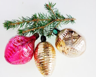 Vintage ornaments, Vintage Christmas, Home Decor, Retro, Soviet, Glass toys