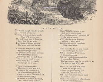 Mourning At Grave-Will's Widow-1883 Antique Vintage Art Print-Gothic Picture-Engraving-Poem-Poetry-Graveyard-Tombstone-Mourn-Sorrow-Grief