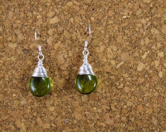 Olive Green Drop Wire Wrapped Earrings