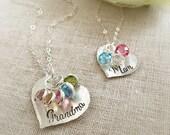 Birthstone Necklace . Grandmother Necklace . Mother Birthstone Necklace . Gift for Mom . Gift for Grandma . Birthstone Jewelry