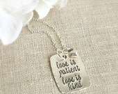 Faith Jewelry . Faith Necklace . Love Is Patient . Personalized . Handmade Jewelry . Stamped Jewelry .