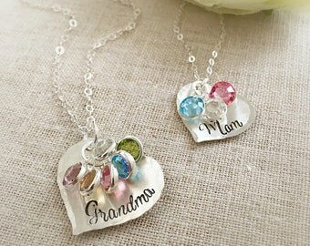 Grandmother Birthstone Necklace . Mother Birthstone Necklace . Gift for Mom . Gift for Grandma . Birthstone Jewelry . Heart . Grandmother