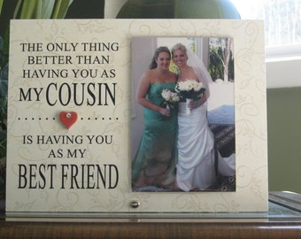 COUSIN Wedding Gift, Cousin Wedding Frame, Cousin Wedding Picture Frame, Cousin Wedding Photo Frame. 4 x 6 photo, Ceramic Heart w/ crystal