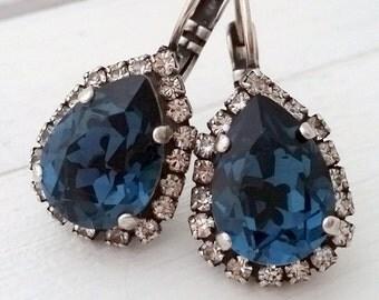 Navy Blue earrings,Navy blue drop earrings,Navy blue Bridal earrings, Bridesmaids gifts,Oxidized silver,Swarovski earrings, Dangle earrings