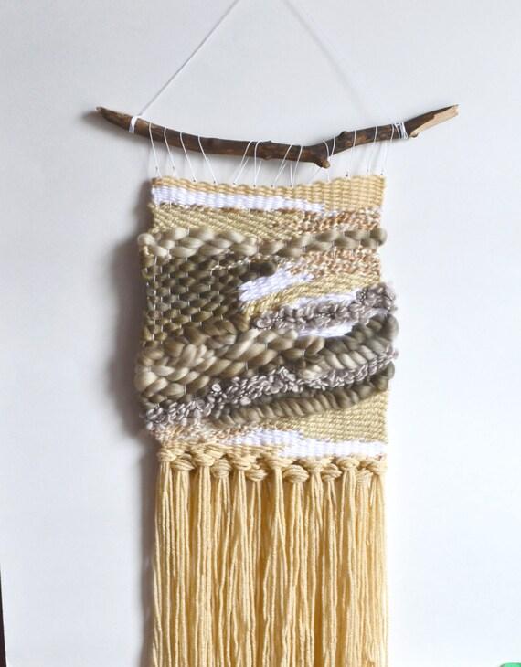 Wall Weaving, Ecru Weaving, Neutral Color Weaving, Bohemian Home Wall Decor, Tapestry, Abstract Wall Weaving, Loom Yarn Art, Home Decor